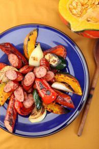 Warzywa grillowane z Kiełbasą ostrołęcką